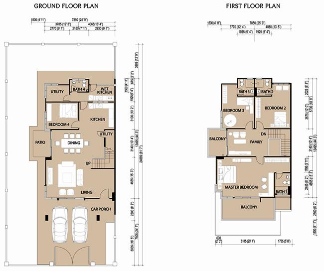Binaik equity berhad for Double storey semi detached house floor plan